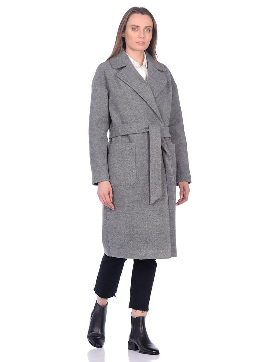 Женское демисезонное пальто hr-002b серое фото-1