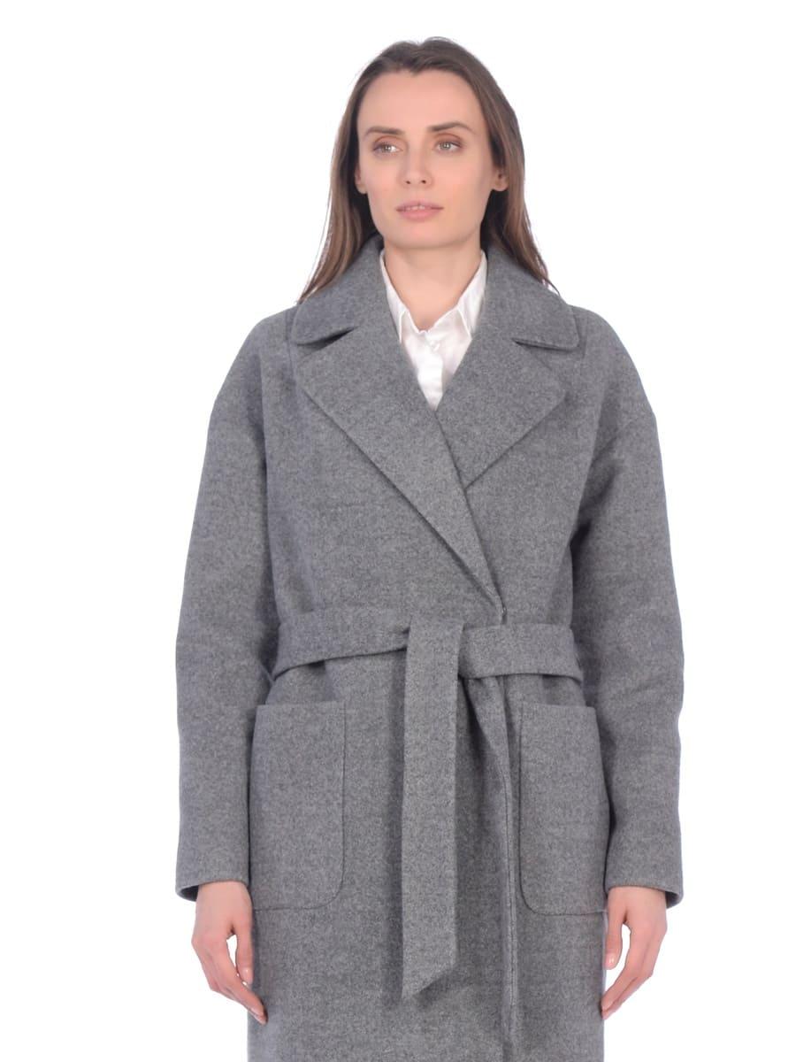 Женское демисезонное пальто hr-002b серое фото-2