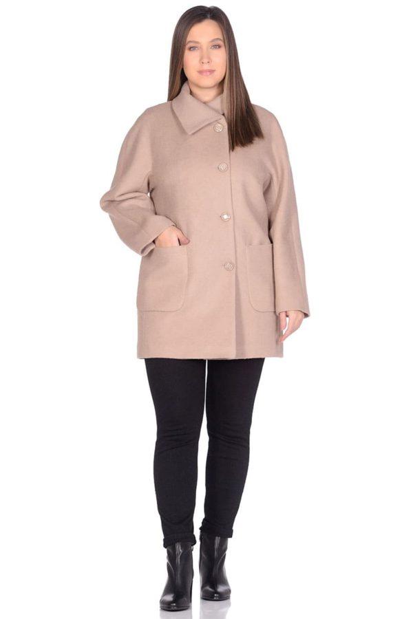 Женское демисезонное пальто hr-048a бежевое фото-1
