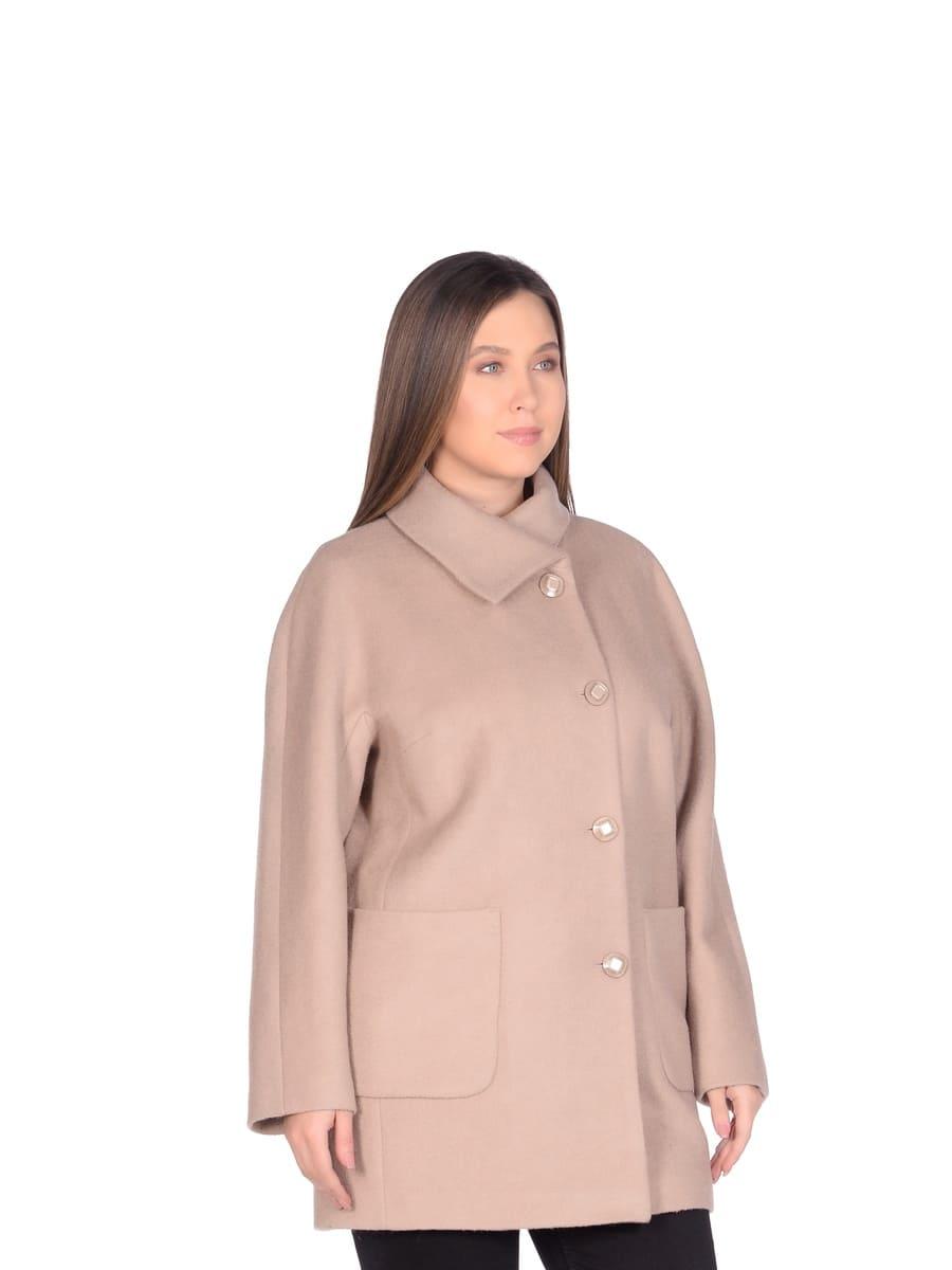 Женское демисезонное пальто hr-048a бежевое фото-2