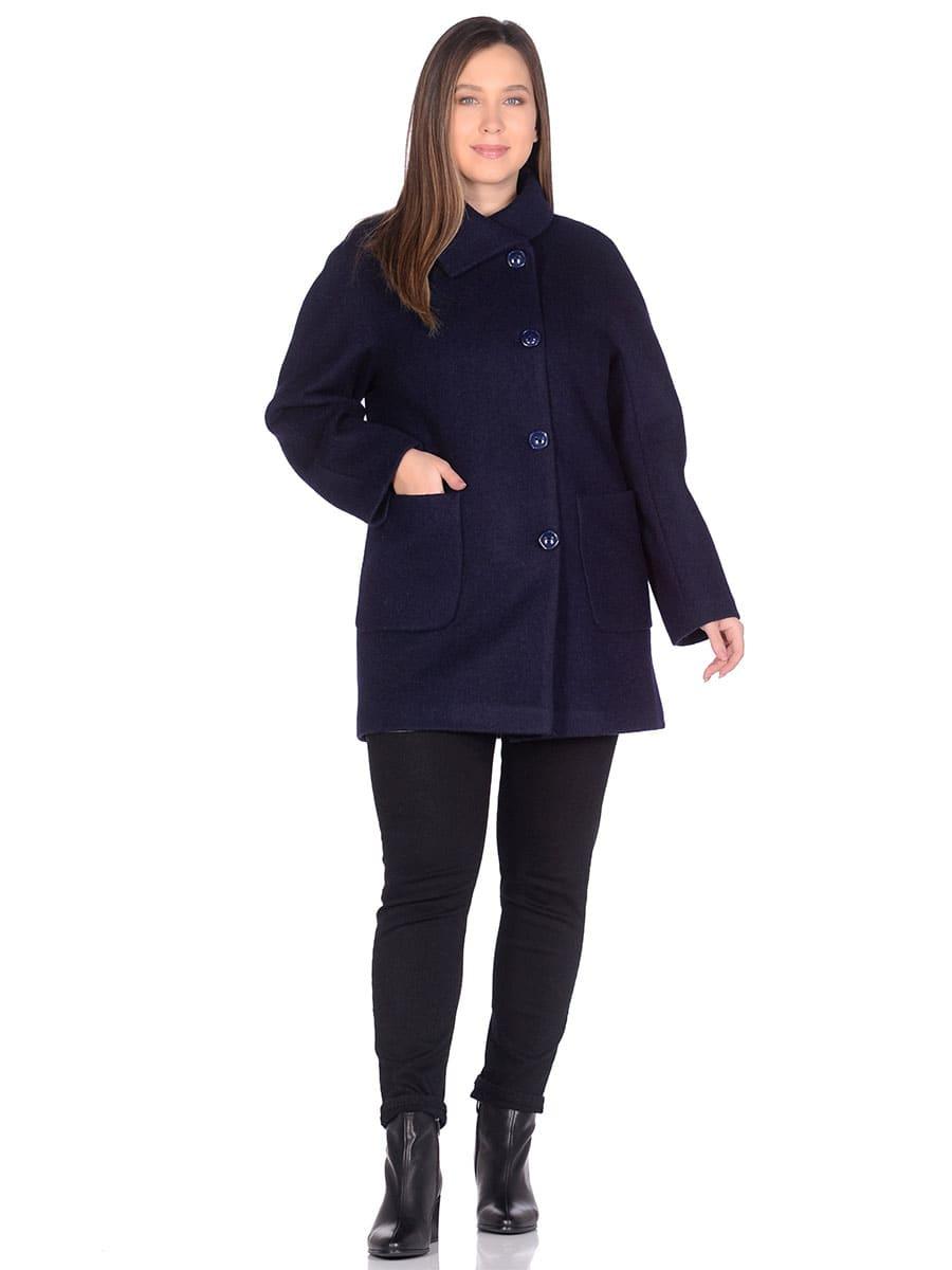 Женское демисезонное пальто hr-048a синее фото-1
