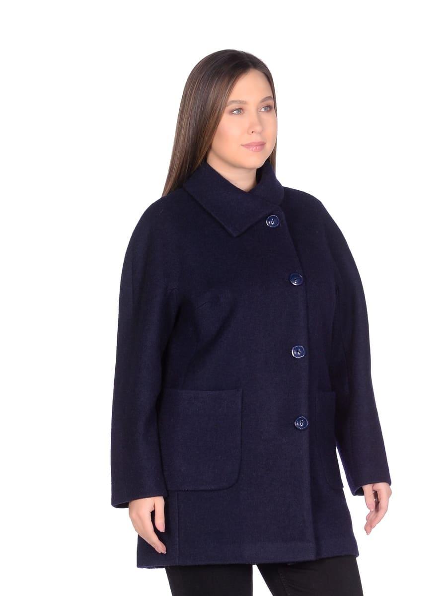 Женское демисезонное пальто hr-048a синее фото-2