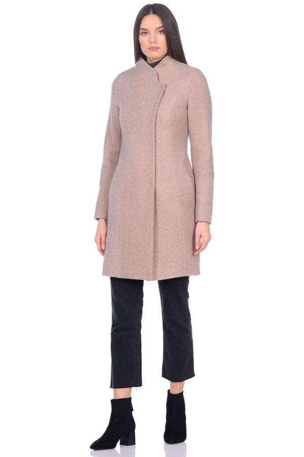 Женское демисезонное пальто hr-056 бежевое фото-1