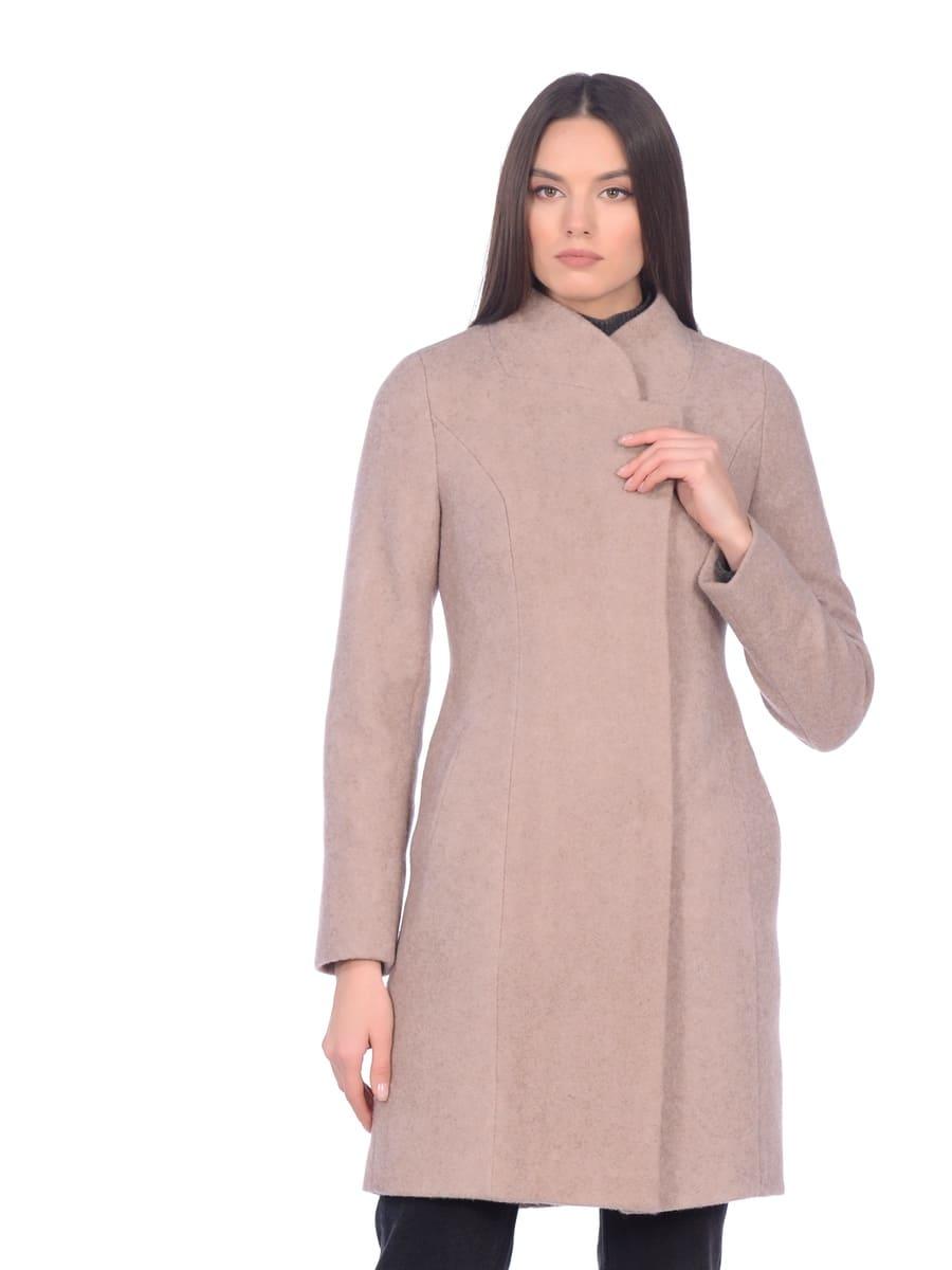Женское демисезонное пальто hr-056 бежевое фото-2