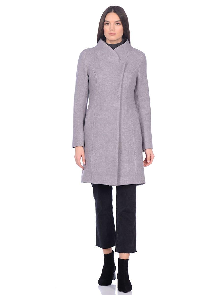 Женское демисезонное пальто hr-056 серое фото-1