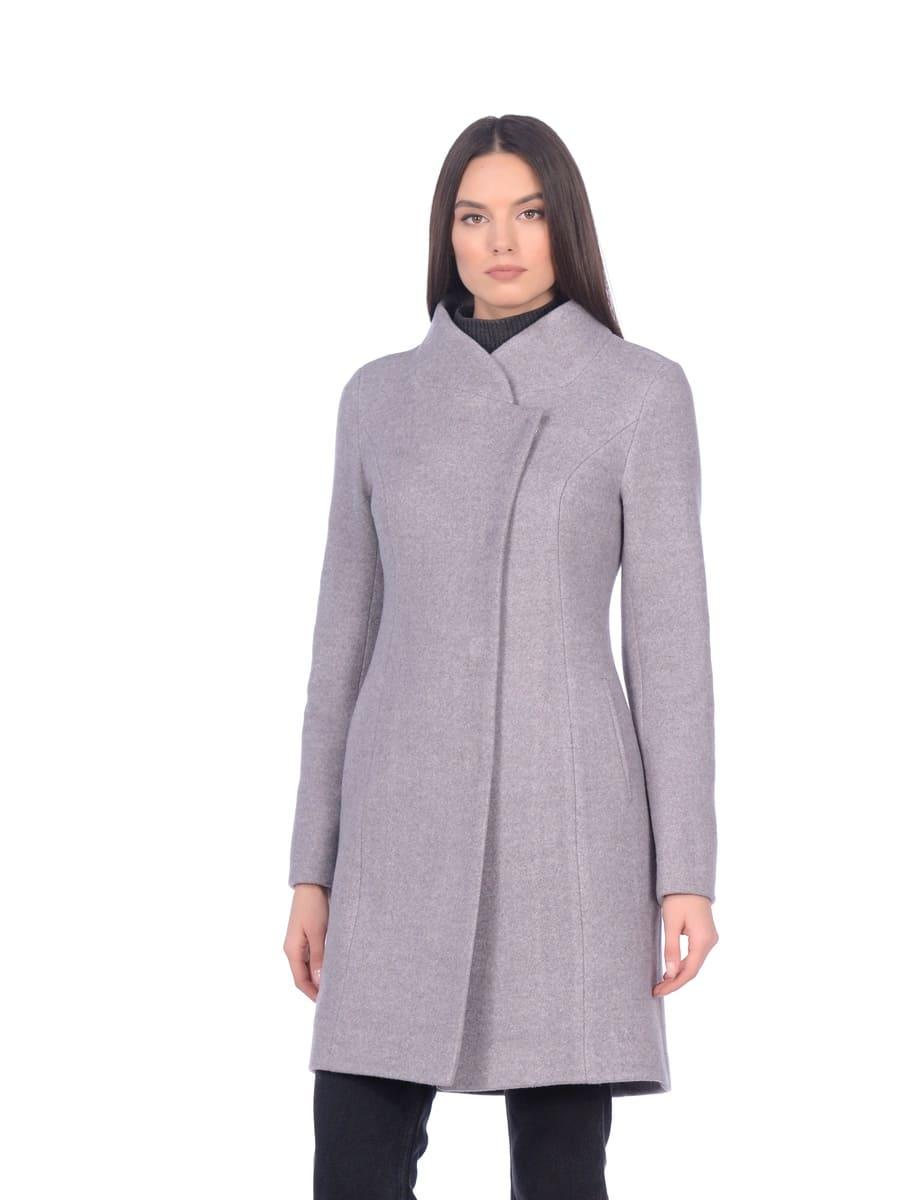 Женское демисезонное пальто hr-056 серое фото-2