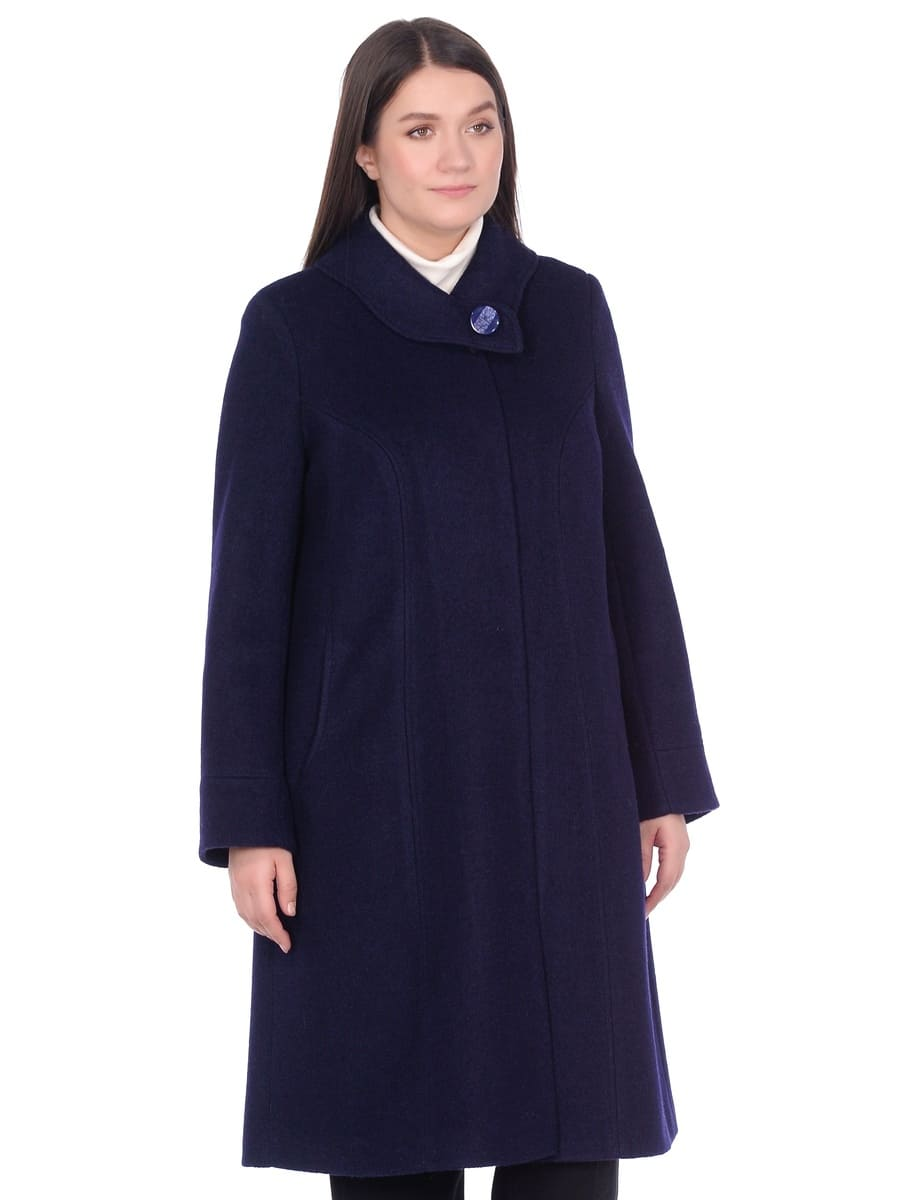 Женское демисезонное пальто hr-008b синего цвета фото-2