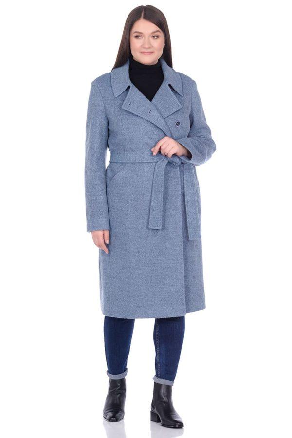 Женское демисезонное пальто hr-057 голубого цвета фото-1