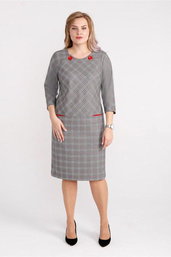 Женское платье LISA HR-0283 цвет серый клетка фото-1