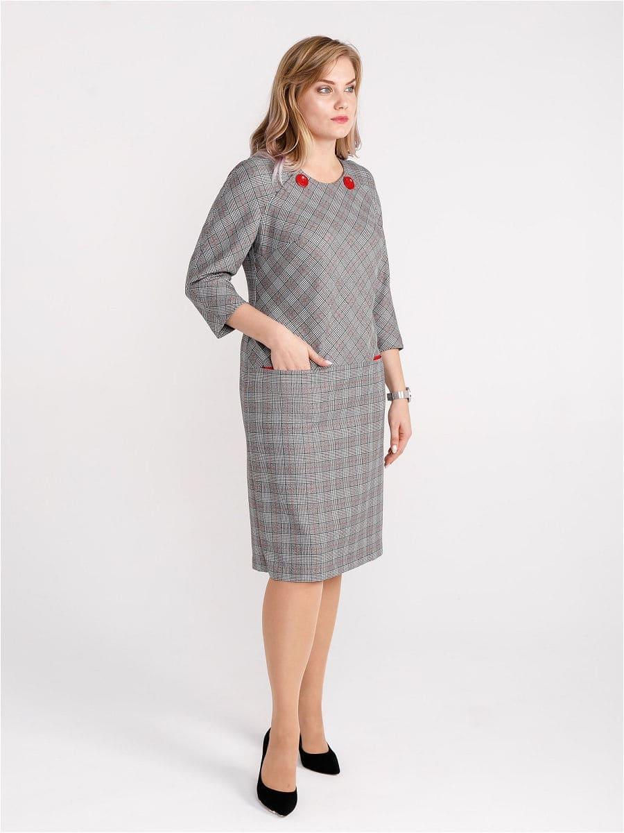 Женское платье LISA HR-0283 цвет серый клетка фото-2
