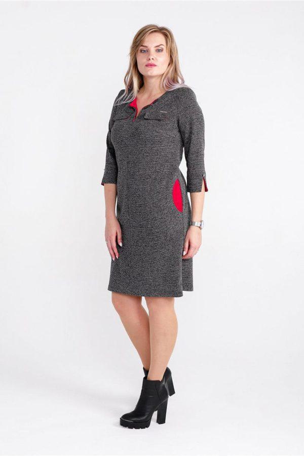 Женское платье LISA HR-1/260 цвет серый красный фото-1