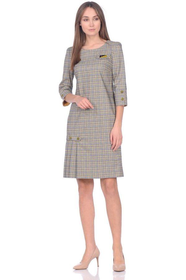 Женское платье LISA HR-1/377 клетка черный желтый фото-1