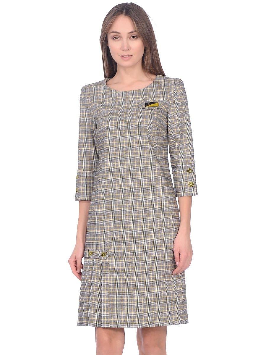 Женское платье LISA HR-1/377 клетка черный желтый фото-2