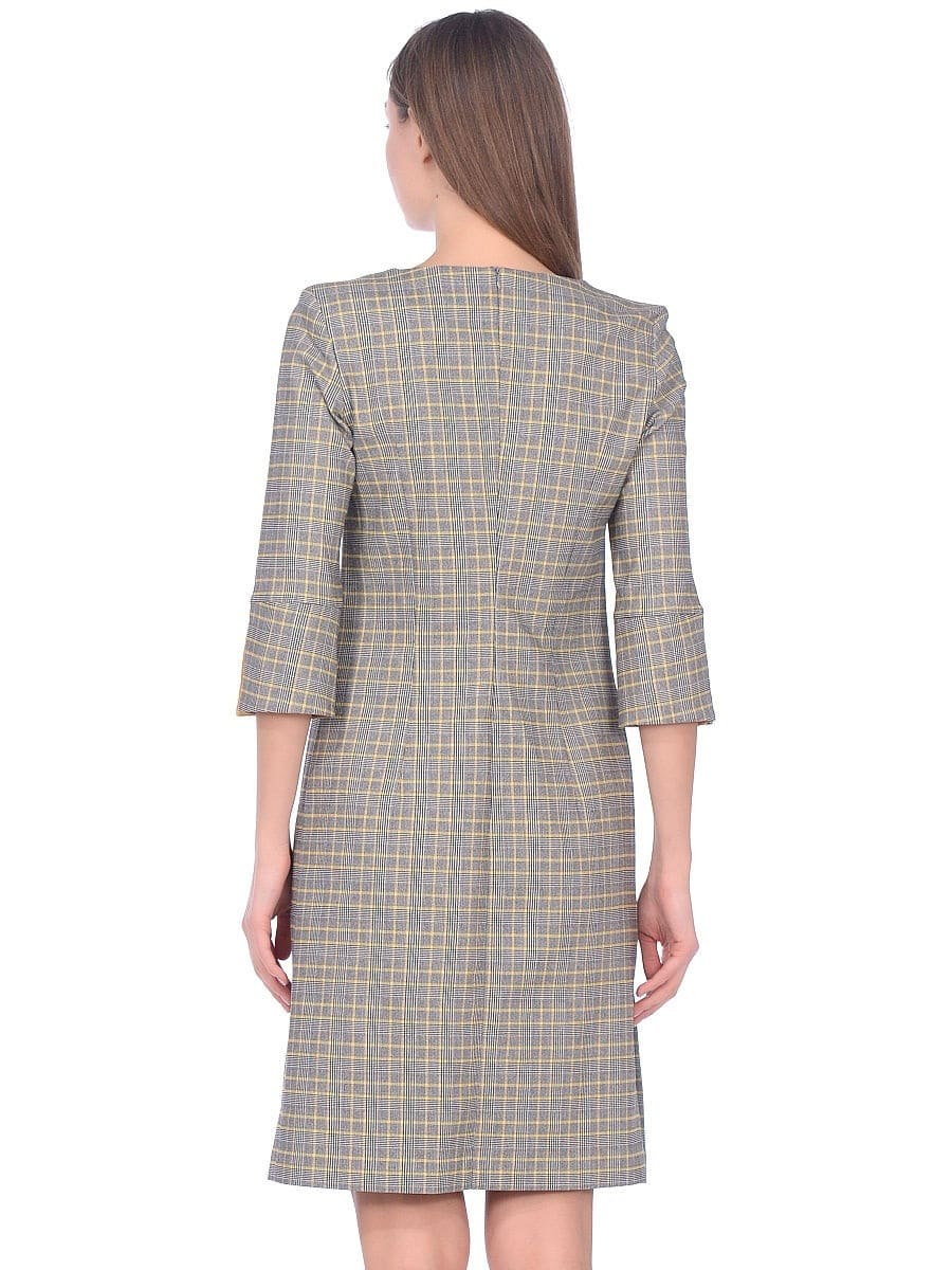 Женское платье LISA HR-1/377 клетка черный желтый фото-3
