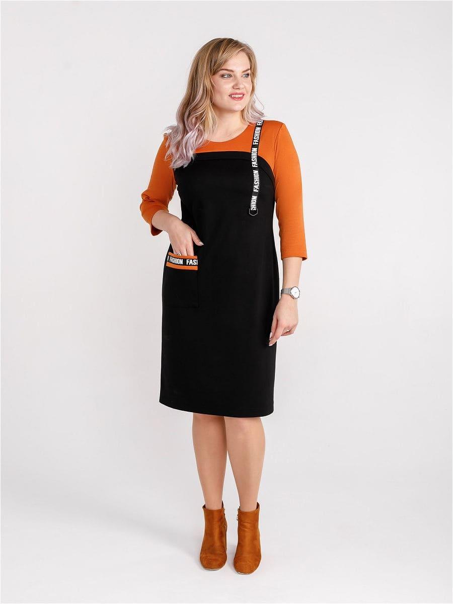 Женское платье LISA HR-5/484 черный-оранжевый фото-1