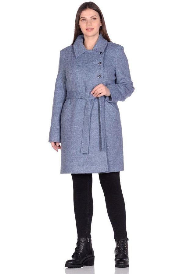 Женское демисезонное голубое пальто hr-058 фото-1