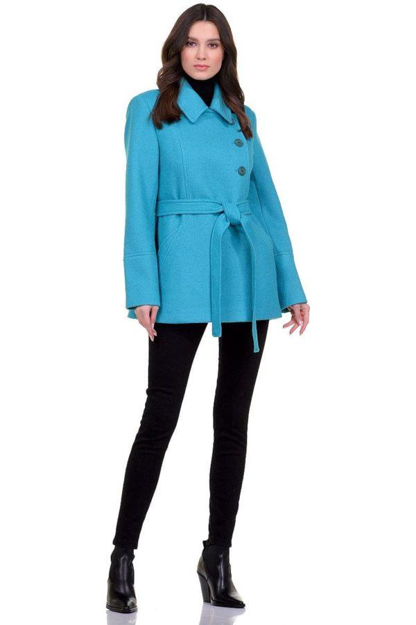 Женское демисезонное бирюзовое пальто hr-059 фото-1