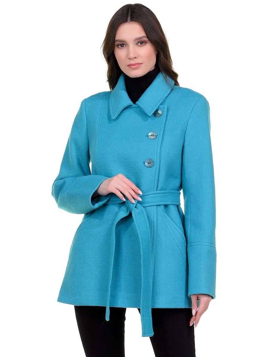 Женское демисезонное бирюзовое пальто hr-059 фото-2