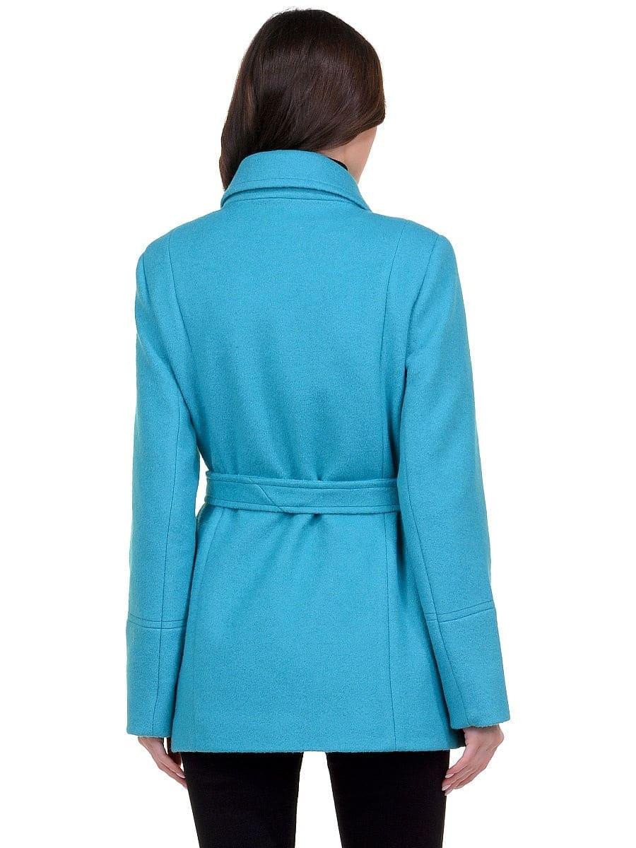 Женское демисезонное бирюзовое пальто hr-059 фото-3