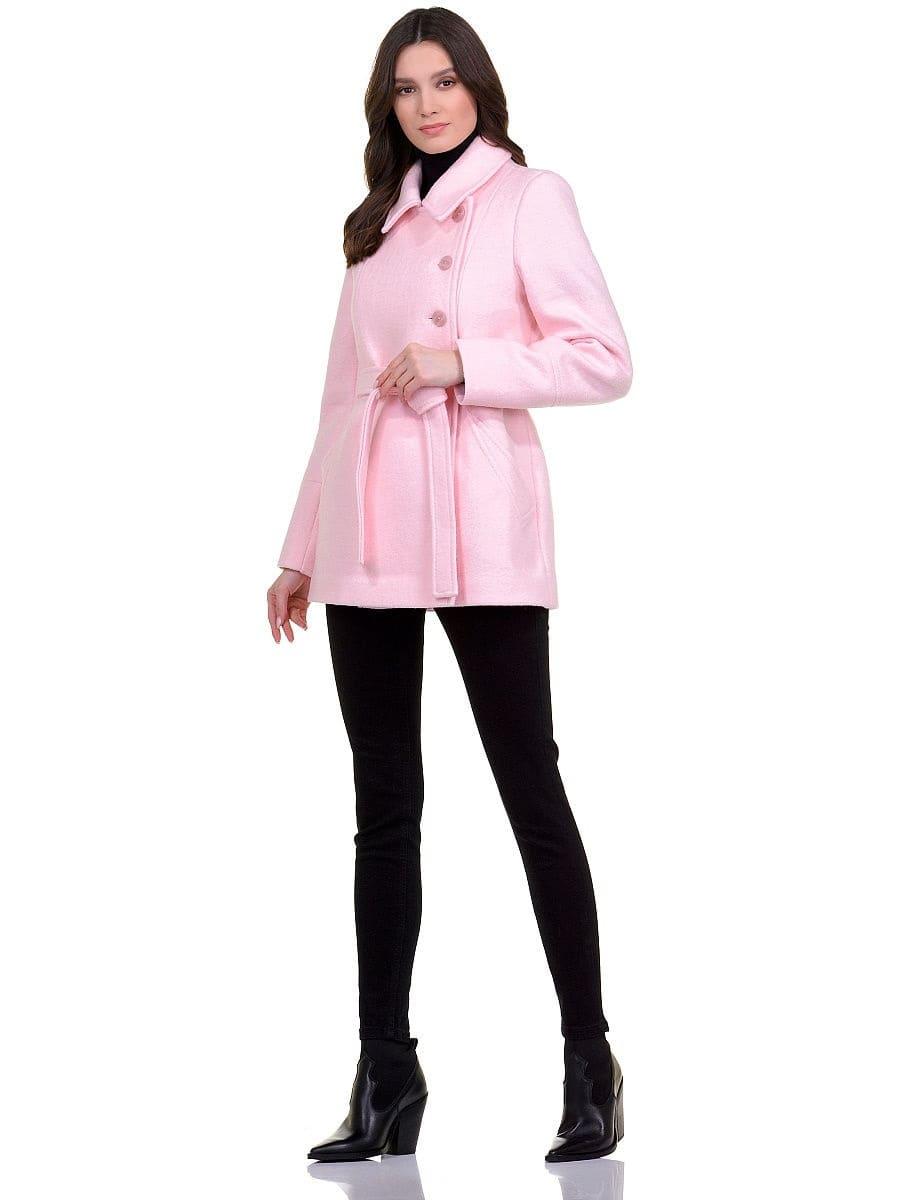 Женское демисезонное розовое пальто hr-059 фото-1