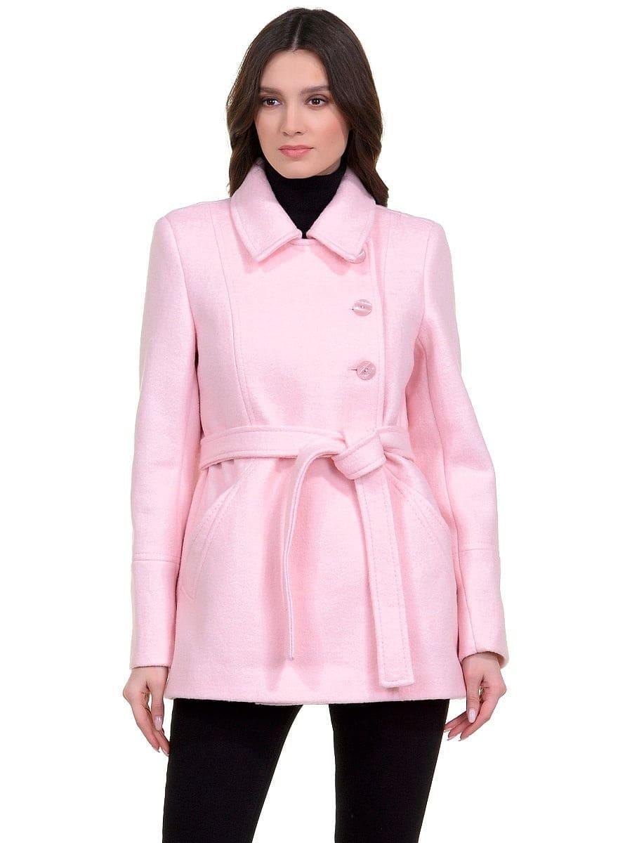 Женское демисезонное розовое пальто hr-059 фото-2