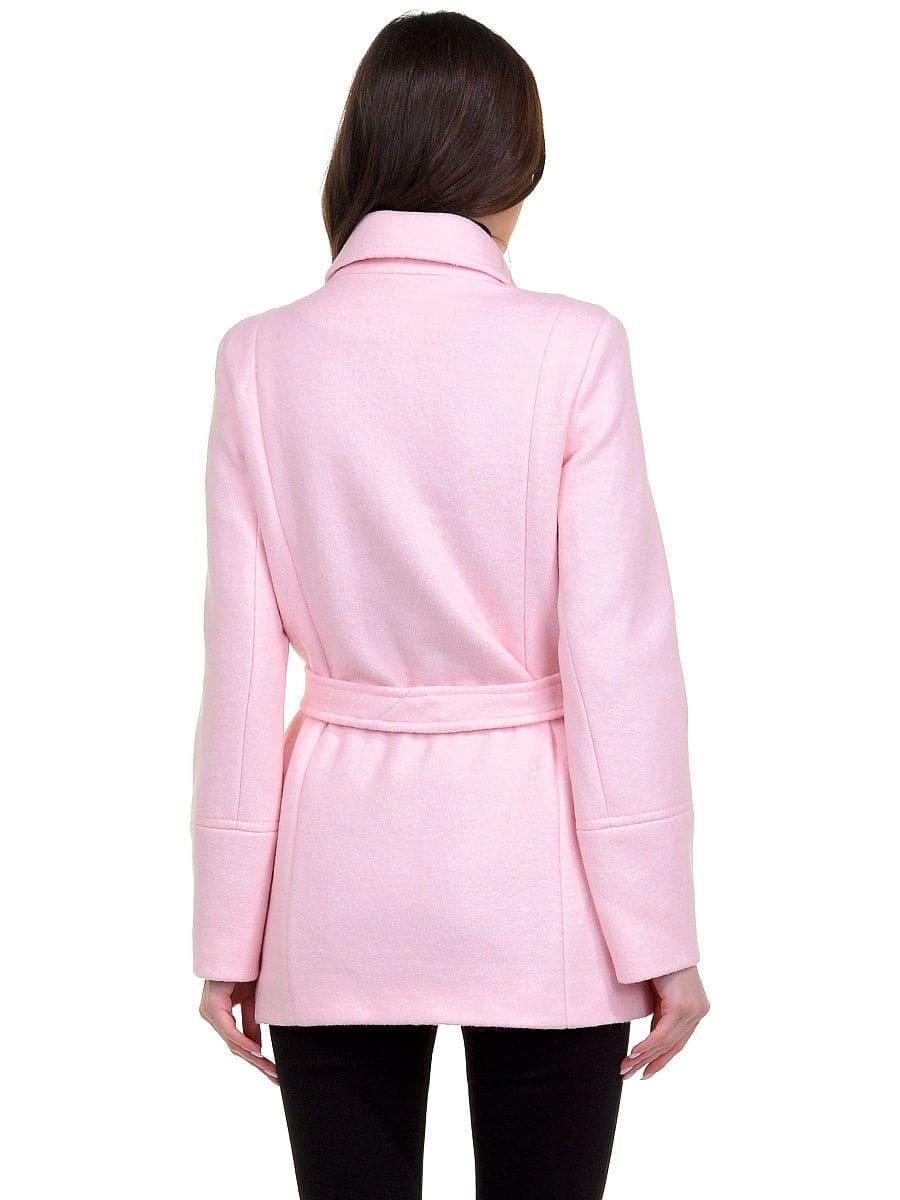 Женское демисезонное розовое пальто hr-059 фото-3