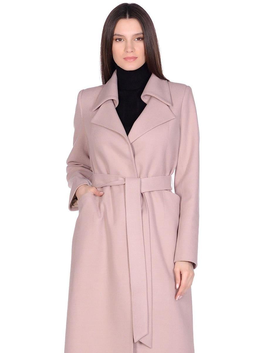 Женское демисезонное бежевое пальто hr-060 фото-2