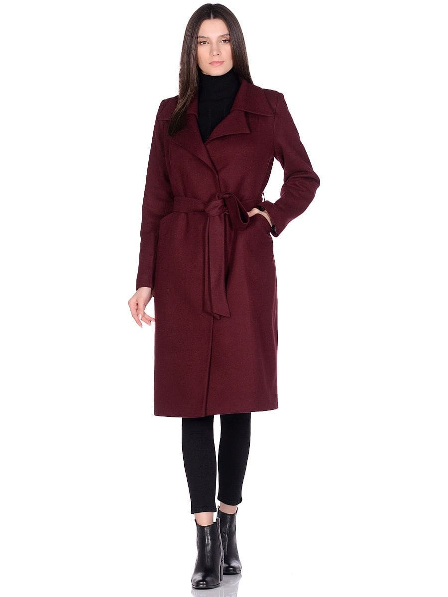 Женское демисезонное вишневое пальто hr-060 фото-1