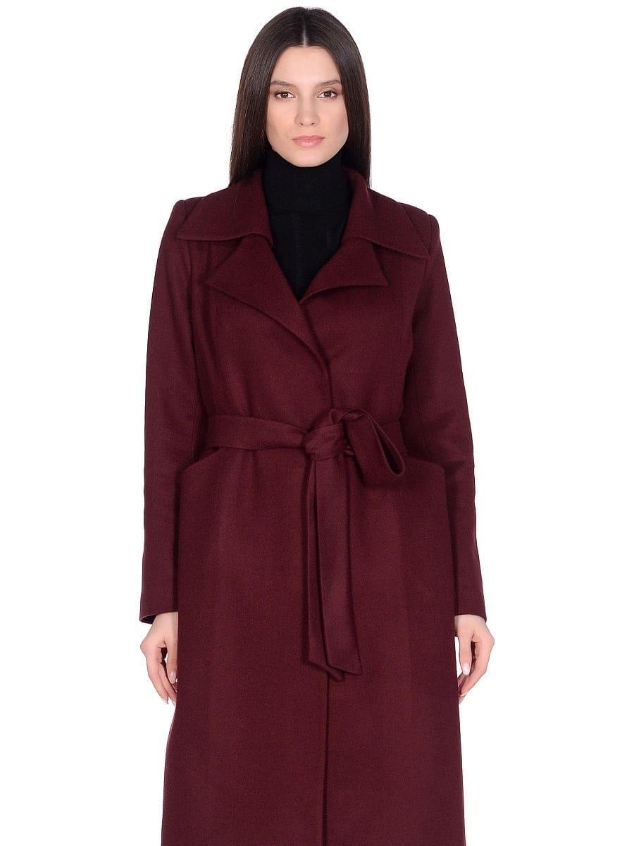 Женское демисезонное вишневое пальто hr-060 фото-2