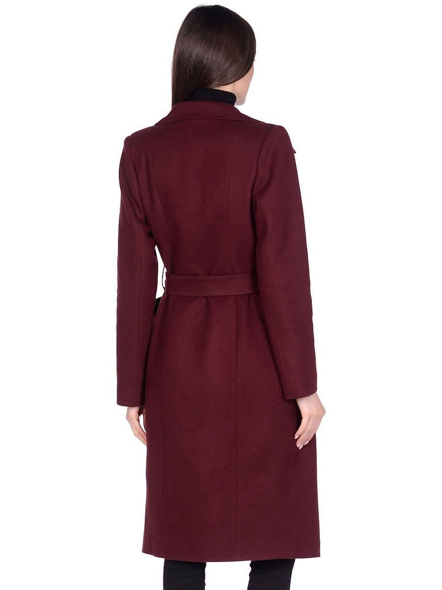 Женское демисезонное вишневое пальто hr-060 фото-3