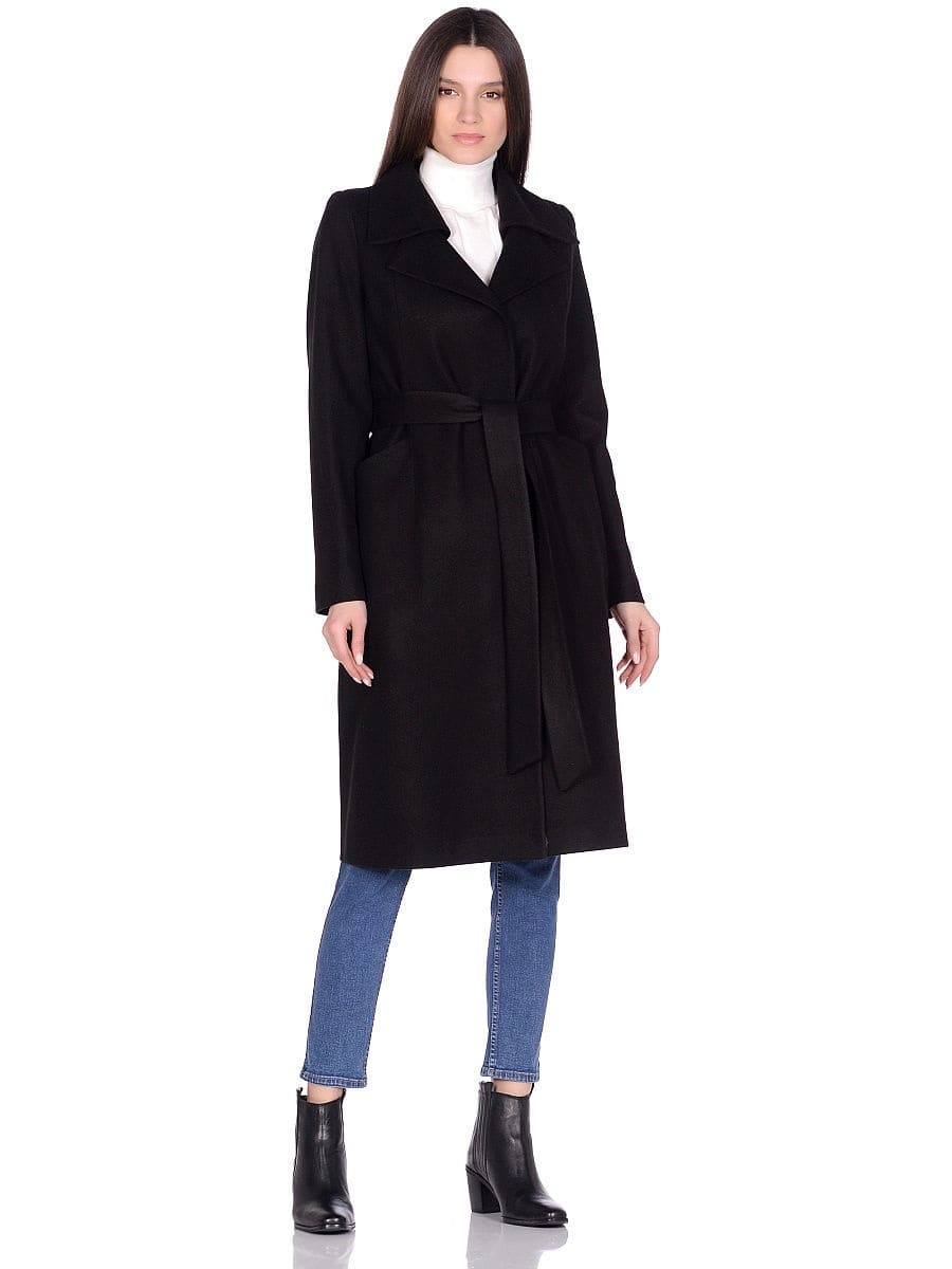 Женское демисезонное черное пальто hr-060 фото-1