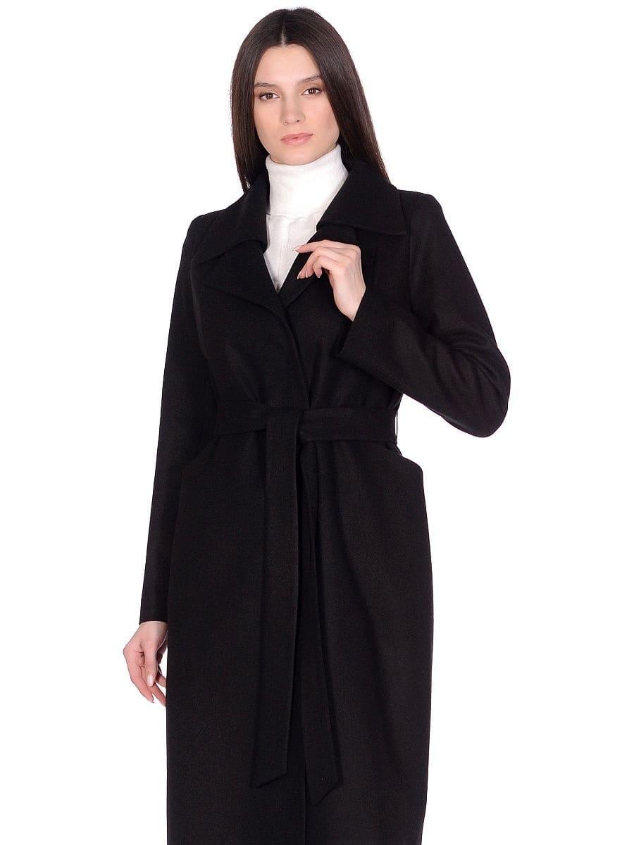 Женское демисезонное черное пальто hr-060 фото-2