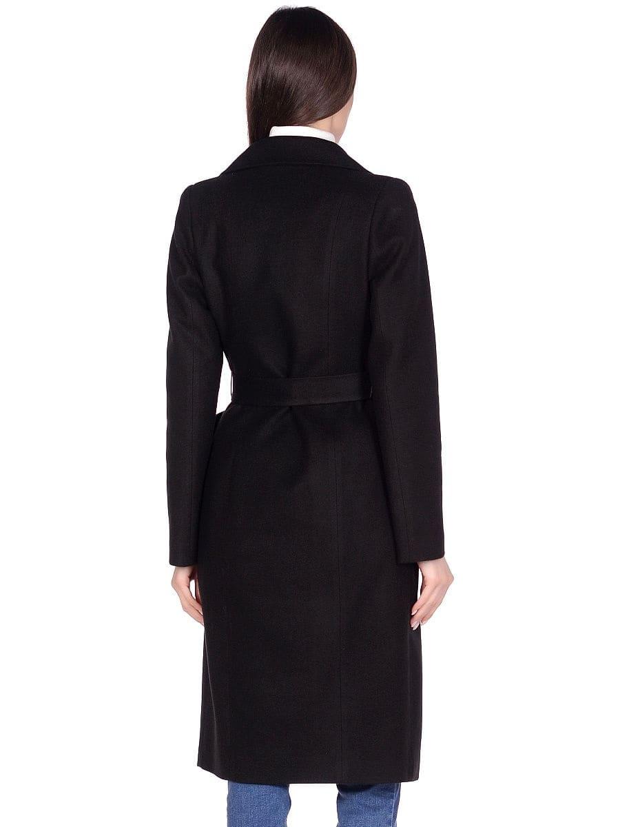 Женское демисезонное черное пальто hr-060 фото-3