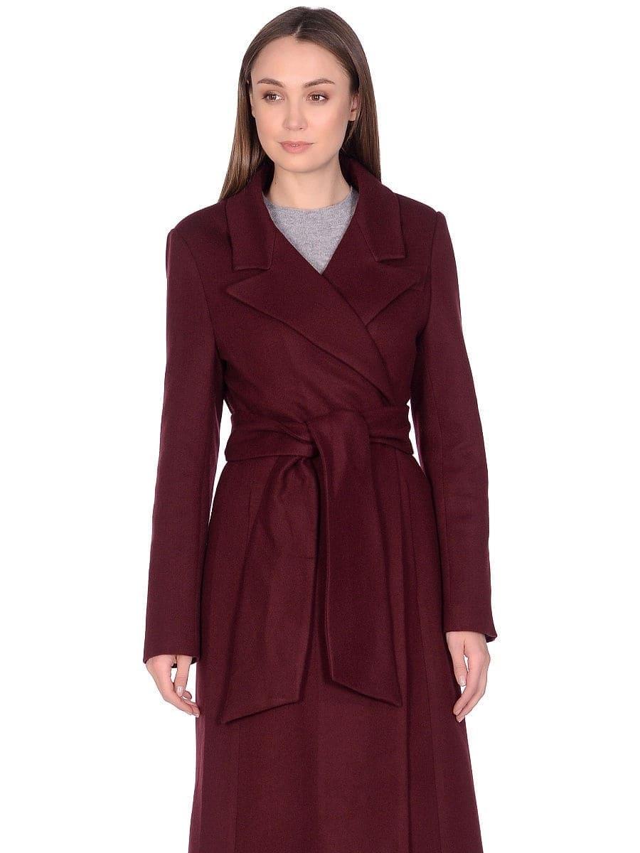 Женское демисезонное пальто hr-061 вишневого цвета
