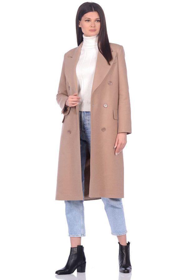 Женское демисезонное пальто hr-016a бежевого цвета